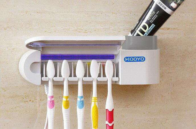 紫外線牙刷消毒機 殺菌牙刷架 擠牙膏器 浴室收納000226