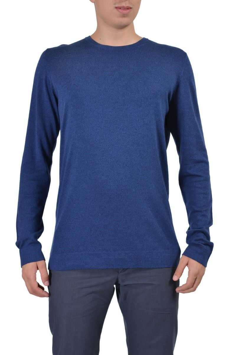 2f8b2c601d Emporio Armani Wool Cashmere Navy Knitted Crewneck Men's Sweater US XL IT 54