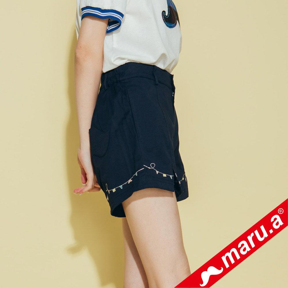 【maru.a】迷你刺繡開口短褲 8315114 3