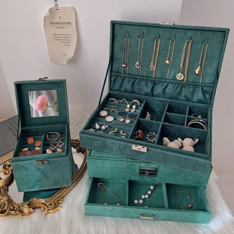 飾品首飾收納盒 大容量多層歐式首飾盒復古耳釘耳環項鏈飾品展示架收納盒抽屜寶箱