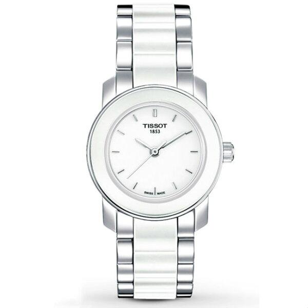 TISSOT天梭T0642102201600CERA系列甜圈經典素色腕錶白28mm