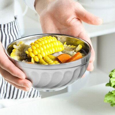 美麗大街【BF443E2】不銹鋼碗隔熱防燙湯碗雙層不銹鋼飯碗泡麵碗(大)