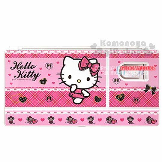〔小禮堂韓國館〕Kitty 水彩調色盤《粉格紋.老鼠.愛心》附花型海綿