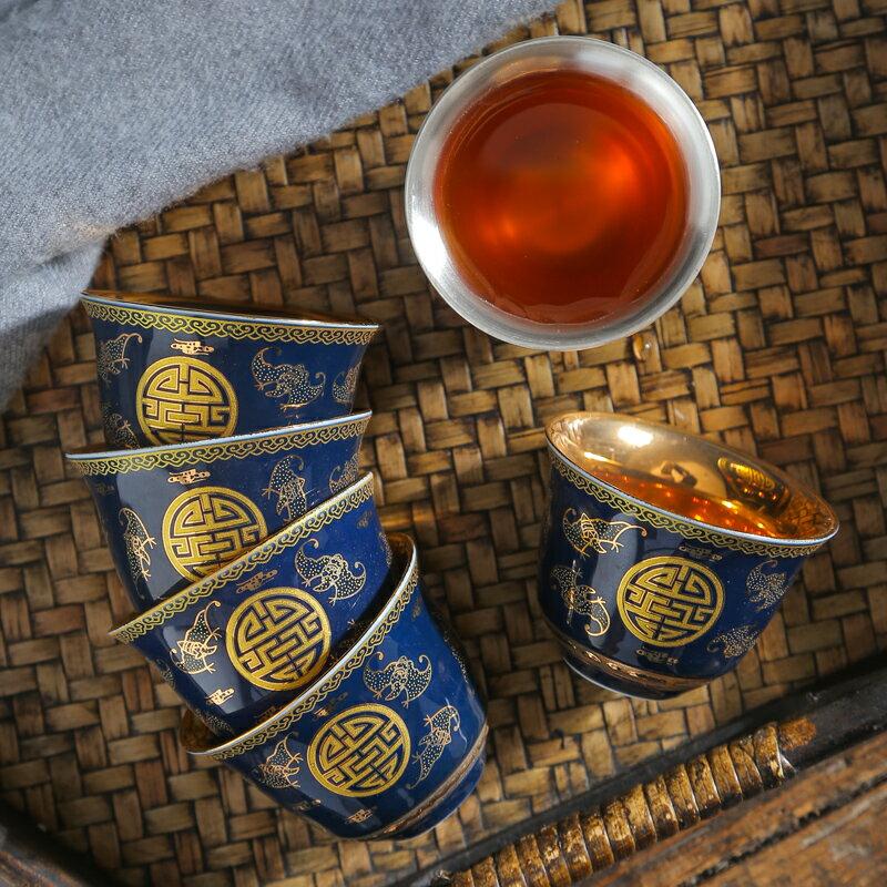 景德鎮青花瓷茶杯陶瓷手繪功夫茶具茶盞品茗杯斗笠杯小主人杯單杯