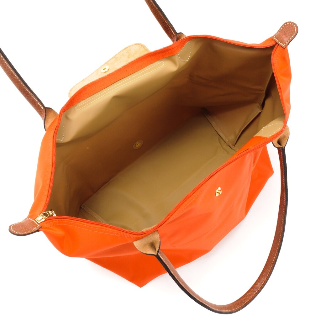 [長柄M號]國外Outlet代購正品 法國巴黎 Longchamp [1899-M號] 長柄 購物袋防水尼龍手提肩背水餃包 亮橘色 3