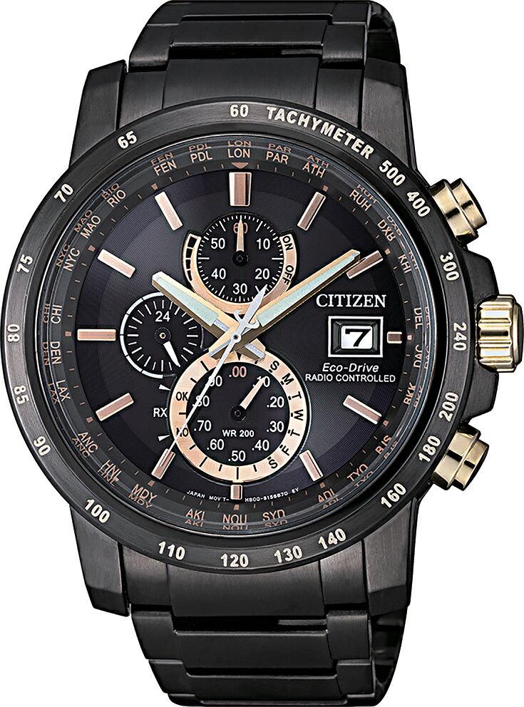 清水鐘錶 Citizen 星辰 Eco-Drive光動能 傲視群雄全球電波三眼腕錶 黑面 AT8127-85F 44mm