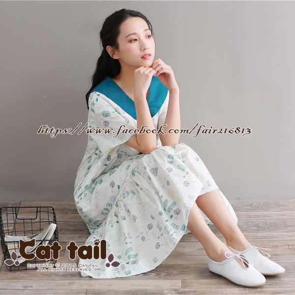 《貓尾巴》TS-0759可愛貓咪印花短袖連身裙(森林系日系棉麻文青清新)
