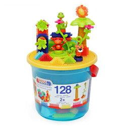 【奇買親子購物網】美國B.Toys 鬃毛積木_叢林冒險系列(128PCS)