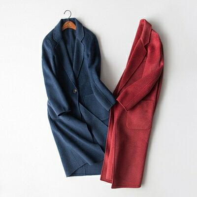 【米蘭秀】【奇珍館】:毛呢外套羊毛大衣-時尚流行寬鬆設計女外套2色73op18【獨家進口】【米蘭精品】