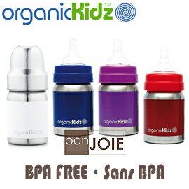 ::bonJOIE:: 美國進口 organicKidz 4OZ (120ml) 寬口不鏽鋼奶瓶 (白、藍、紫、紅 四色可選)(全新盒裝) 嬰兒奶瓶