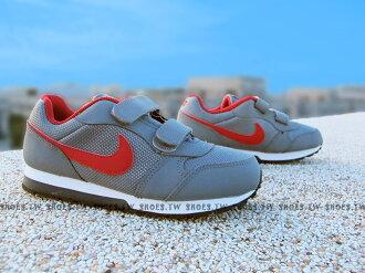 Shoestw【806255-005】NIKE MD RUNNER 2 運動童鞋 小童鞋 灰紅 雙黏帶