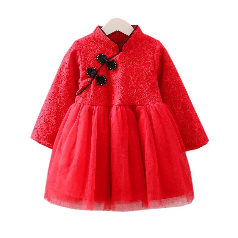 中國結盤扣蕾絲旗袍領拼接紗裙洋裝 寶寶旗袍裝 童裝 過年 唐裝 大紅 新衣 喜酒 女童 拜年服 新年【p0061220427384】
