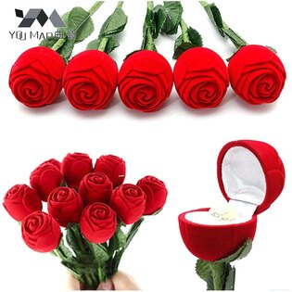 美琪新品創意驚喜紅色玫瑰花帶枝葉戒指首飾盒高檔硬植絨飾品盒子