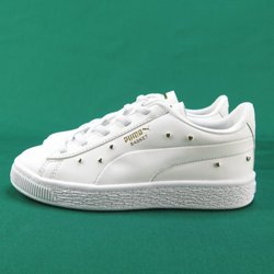 【iSport愛運動】PUMA BASKET STUDS PS愛心鉚釘鞋 運動鞋 正品 36967801 中童鞋 白金