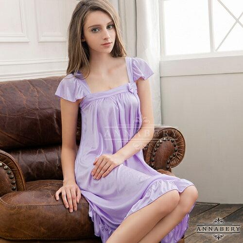 亞娜絲情趣用品粉嫩紫方領小蓋袖大尺碼睡衣