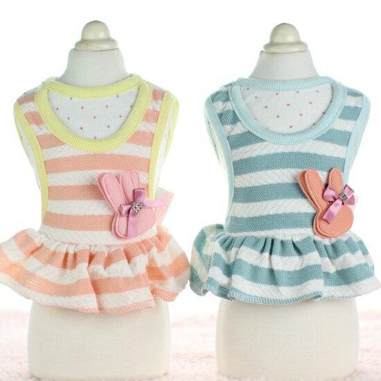 【小樂寵】假兩件式立體小兔條紋洋裝