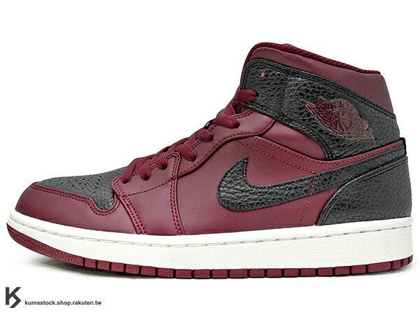 KUMASTOCK:2018經典重現復刻鞋款NIKEAIRJORDAN1MID男鞋深紅黑壓紋皮革AJ(554724-601)0118