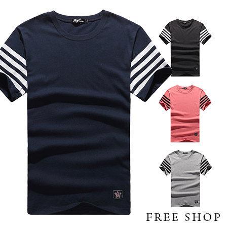 Free Shop~QR05017~美式休閒袖子條紋素面純色短T短袖上衣潮T恤.四色
