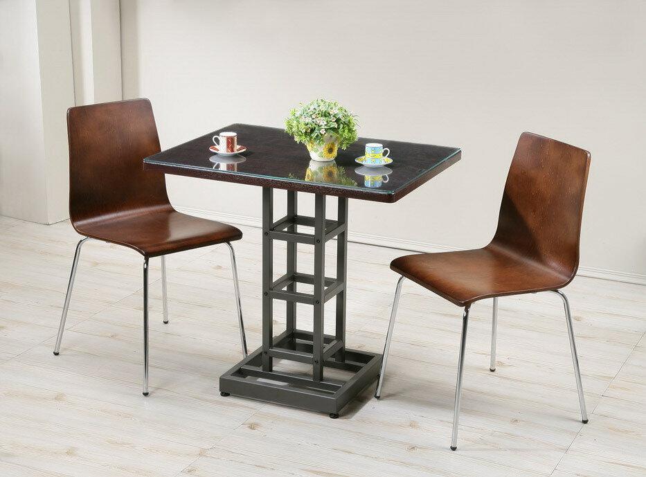 環保低甲醛西餐桌椅組(桌子+椅子*2+玻璃) 工作桌 書桌 穩固不搖晃【馥葉】【型號DY8060WA-2P】
