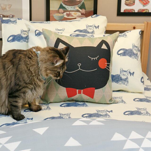 Blue cat 藍貓【床包藍貓】 加大/Kingsiz賣場   舒適磨毛布 台灣製造 7