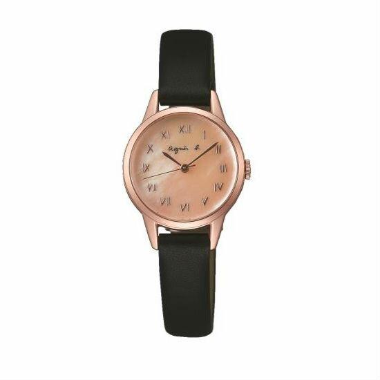 agnes b VJ21-KT60K(BH8027X1)簡約羅馬時尚腕錶/粉貝面26mm