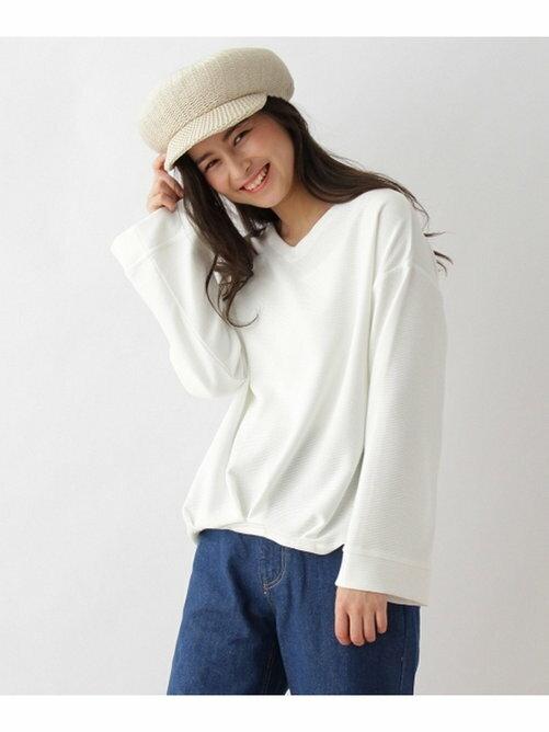 OZOC V領波紋素面落肩長袖針織衫 日本必買 日本直送 代購/日貨/雜誌