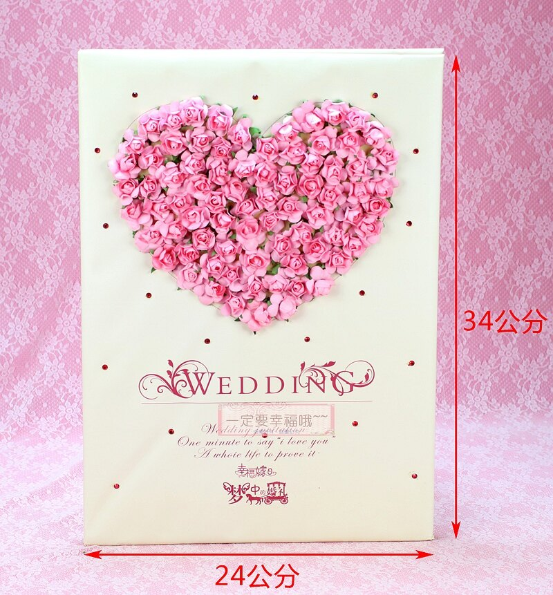 一定要幸福哦~~浪漫物語簽名本(粉)、婚禮小物、簽名筆、結婚用品