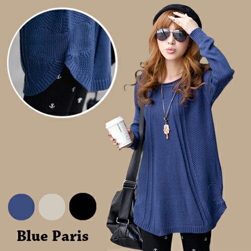 針織長袖下擺弧形立體壓線長版上衣 毛衣【29178】藍色巴黎 - 現貨 + 預購 0