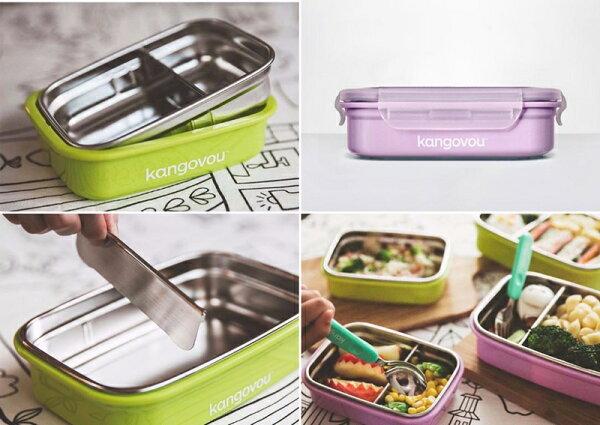 NANABABY:【美國Kangovou】小袋鼠不鏽鋼兒童安全餐盒-2色可選