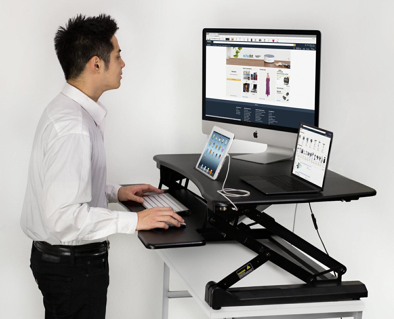 Mount It! Electric Sit Stand Workstation Standing Desk Converter, Ergonomic  Height Adjustable Tabletop Desk, Black