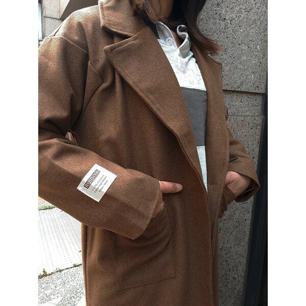 BOBI:大衣外套一粒釦毛呢西裝領長袖長大衣外套【KLM25】BOBI0908