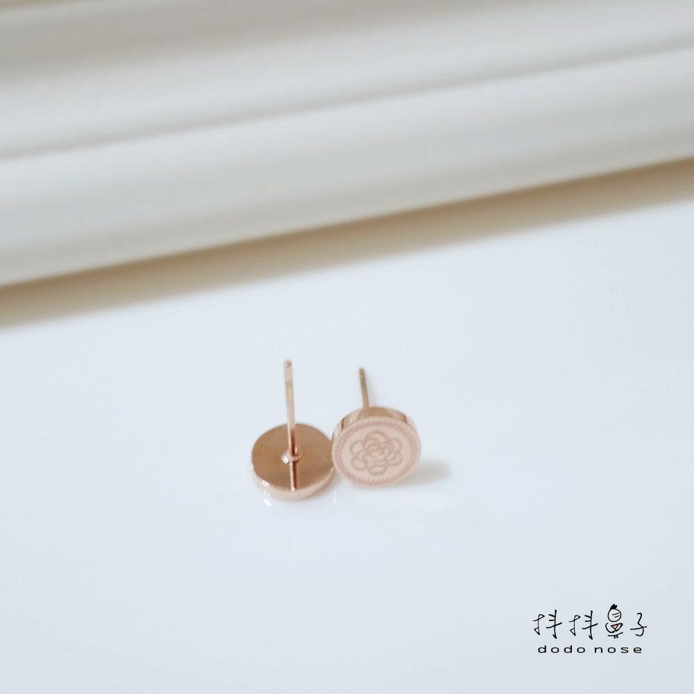 奢華雕刻玫瑰金耳環 1