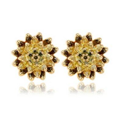 純銀耳環鍍18K金鑲鑽耳飾~精緻氣質 典雅情人節生日 女飾品3色73cr351~ ~~米蘭