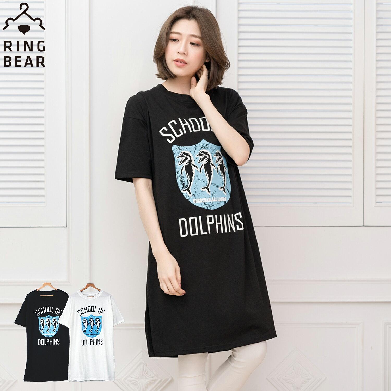中大尺碼--率性風格可愛海豚學校印圖五分袖寬鬆版型休閒長洋裝(黑.白XL-3L)-D278眼圈熊中大尺碼 0