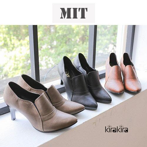 高跟鞋-MIT素面尖頭牛津淺口高跟鞋-預購