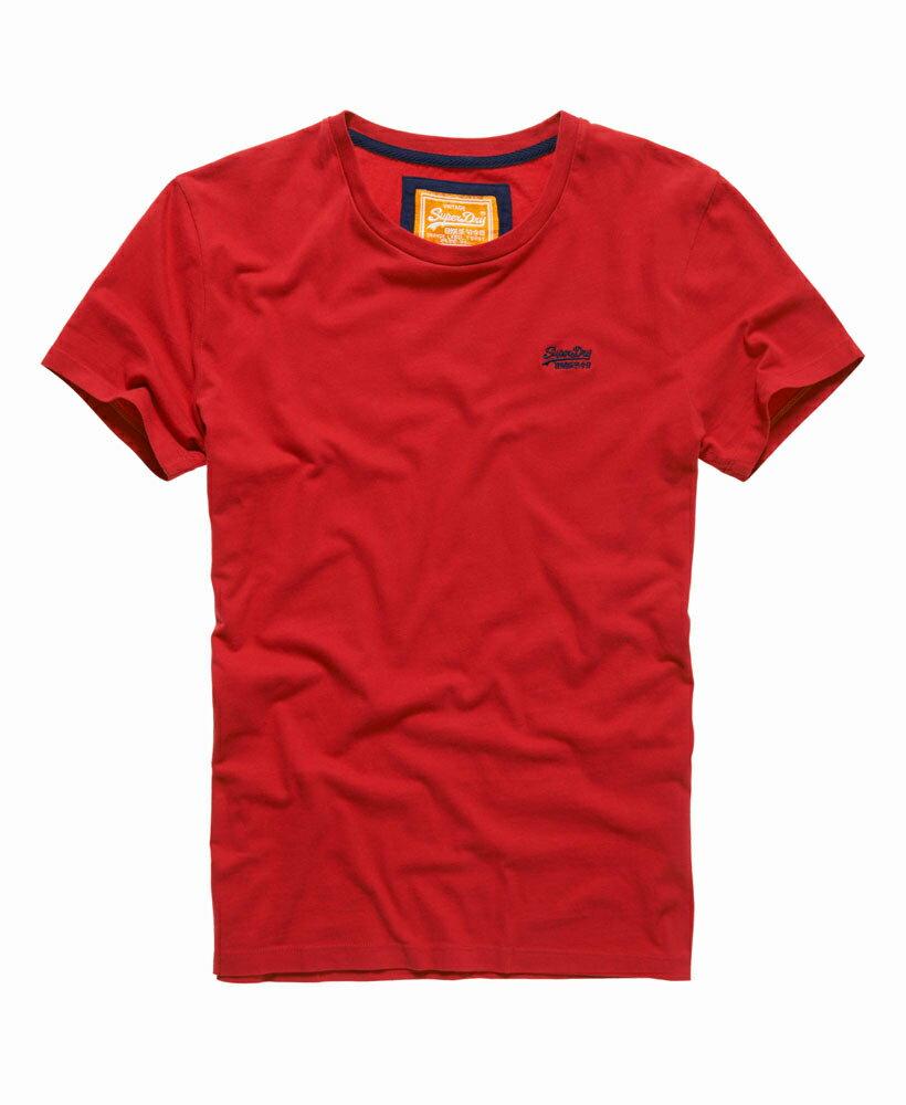 美國百分百【Superdry】極度乾燥 T恤 上衣 T-shirt 短袖 短T 圓領 經典 紅 logo 素面 XL XXL號 F235