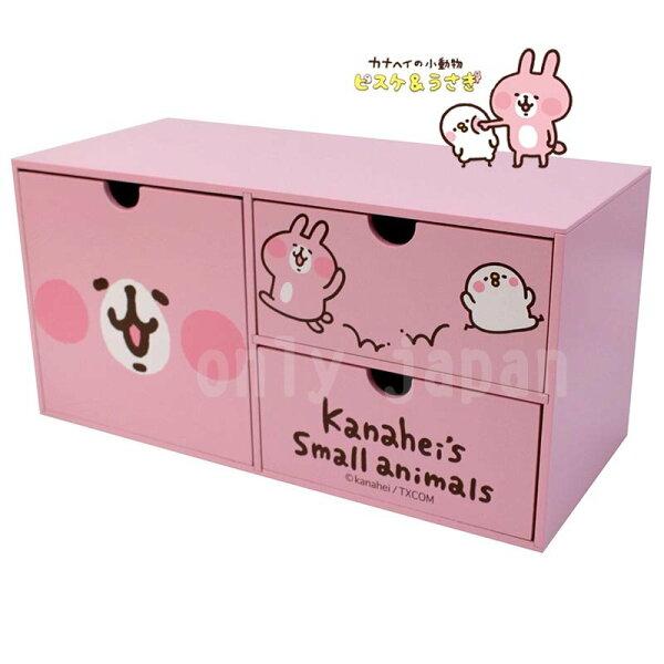 【真愛日本】18052200001三格抽屜置物盒-兔兔卡娜赫拉的小動物們兔兔P助置物盒收納盒抽屜櫃