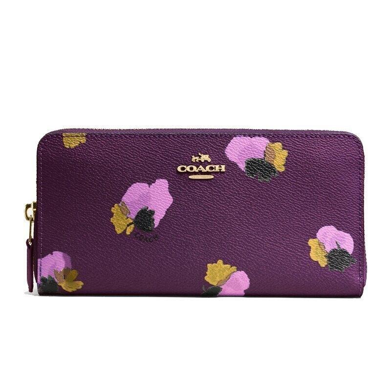 COACH F53794 女士花卉印花塗層拉鏈長夾錢包