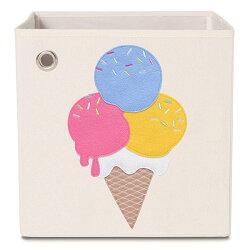(1800折200) 美國【KAIKAI & ASH】甜點系列收納箱- 藍莓冰淇淋  摺疊收納箱 玩具收納箱 / 整理箱 / 設計風 / 棉麻 / 不織布