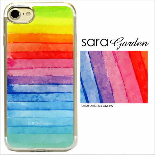 SaraGarden:客製化軟殼iPhone8766SPlus手機殼保護套全包邊掛繩孔水彩漸層彩虹