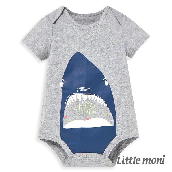 Littlemoni鯊魚印圖短袖包屁衣-灰色