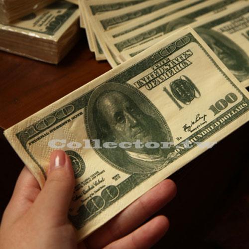 【F14073101】好闊氣-100元美金餐巾紙(10張裝) 美金鈔票紙巾 美元紙巾