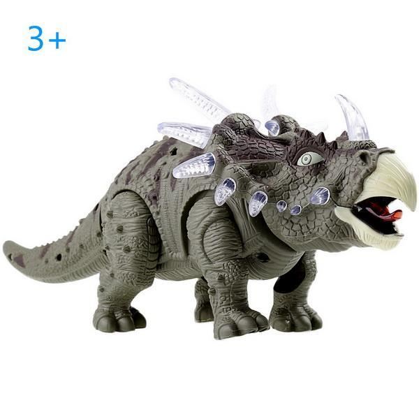 Battery Powered Triceratops Dinosaur Toy Realistic with Sounds Lights Walks Roar 0