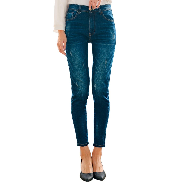 鉛筆褲--休閒鬼爪貓鬚刷破刷色皺褶印染合身口袋百搭牛仔長褲(藍M-3L)-C109眼圈熊中大尺碼 0