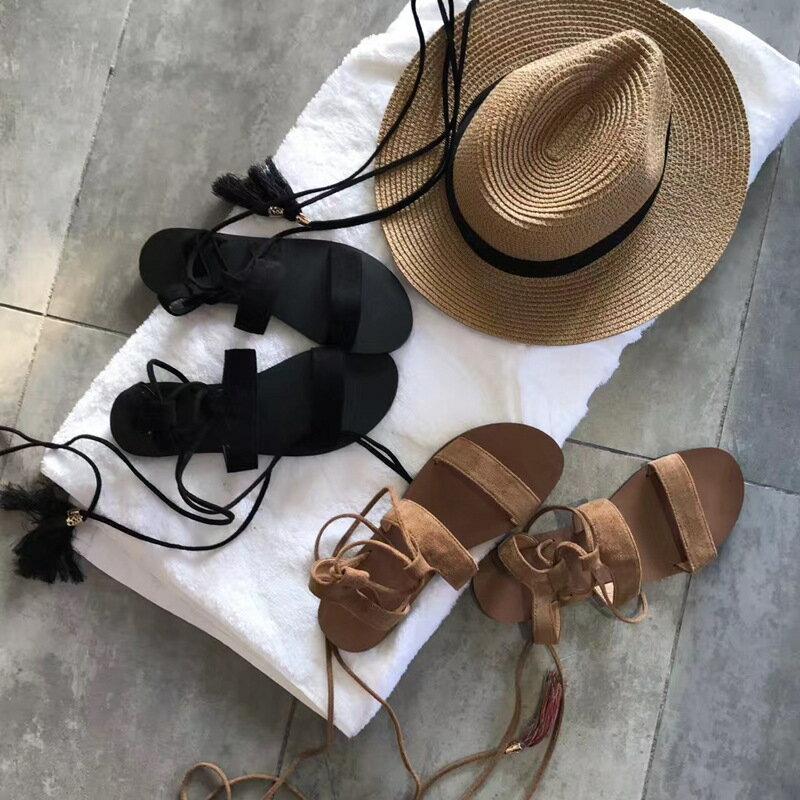 2017 圓頭一字型 羅馬涼鞋 露趾交叉綁帶流蘇涼鞋黑棕