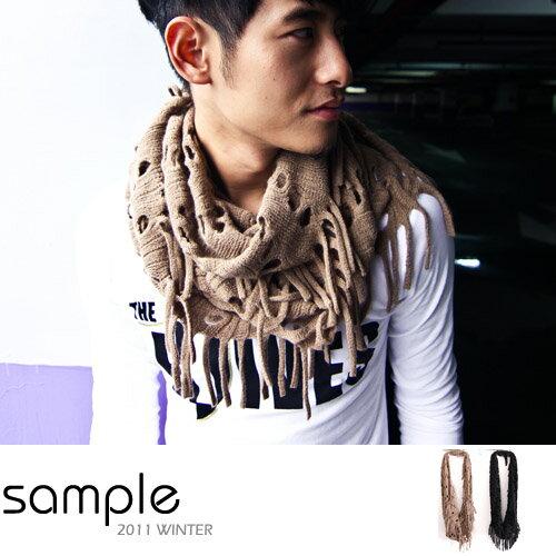 S le~SA2030~ ,洞洞流蘇 柔軟舒適圍脖圍巾,黑色 ~  好康折扣