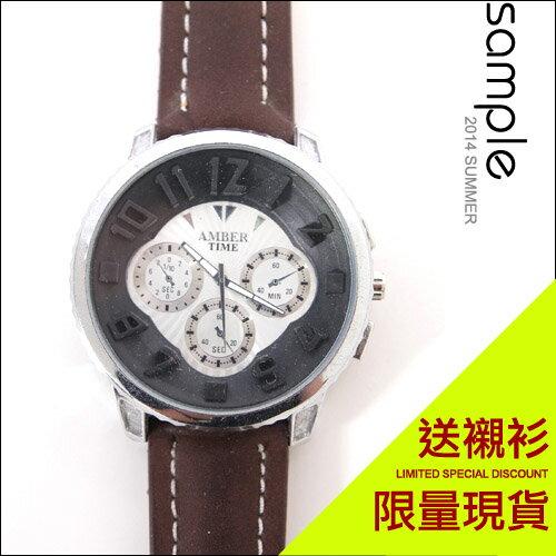 現貨 Sample【AW2837】韓國設計,4.8公分大表面立體數字三眼錶(無計時碼錶功能) ★ 送襯衫