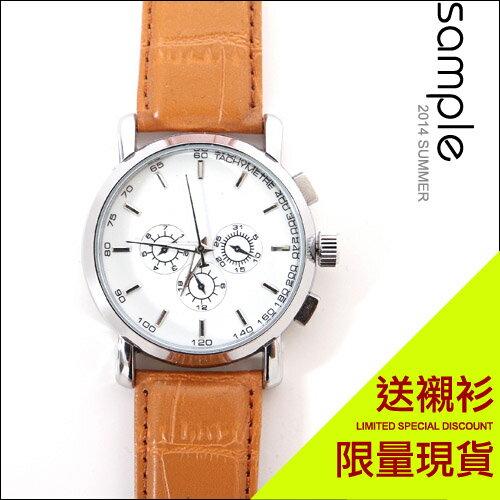 現貨 Sample【SA3027】韓版,視距儀三眼素面質感手錶(無計時功能) ★ 送襯衫