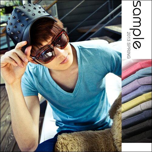 【Sample】訂製款特殊超柔棉質感V字領超百搭經典素色短袖T恤【SA4102】 1