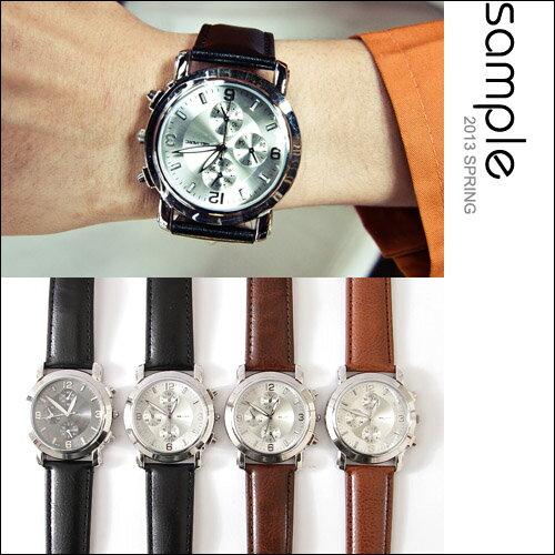 時尚手錶【Sample】韓國設計復古銀框三眼錶,附錶盒【SA4103】-MELVERC